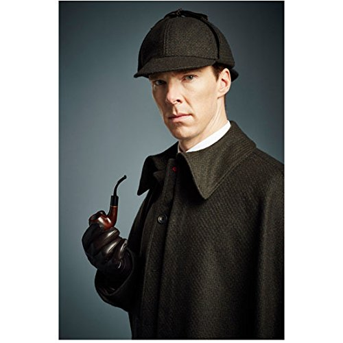 Sherlock Photo 8 inch x 10 inch PHOTOGRAPH Benedict Cumberbatch Grey Suit Grey Background Hat, Overcoat & Pipe (Overcoat Sherlock)