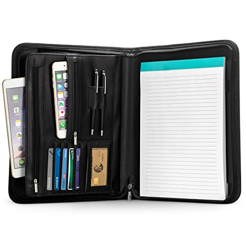 Leather Zippered Padfolio (Inkline Business Portfolio - Professional PU Leather Padfolio with Zippered Closure - Legal Document Organizer & Business Card Holder - Letter-Sized Writing Pad - Large Tablet Pocket)