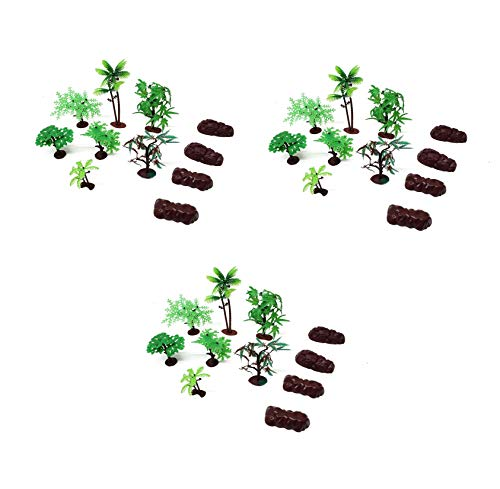 33 Piece Assorted Plastic Model Tree and Rocks Jungle Set