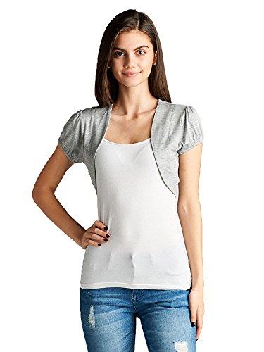 Emmalise Women Layering Bolero Shrug Jacket Crop Top Shirt Tee - Heather Gray, S