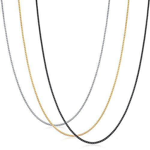 ORAZIO 3Pcs 1.2MM Stainless Steel Box Chain Necklace for Men Women Necklace Set 16 ()