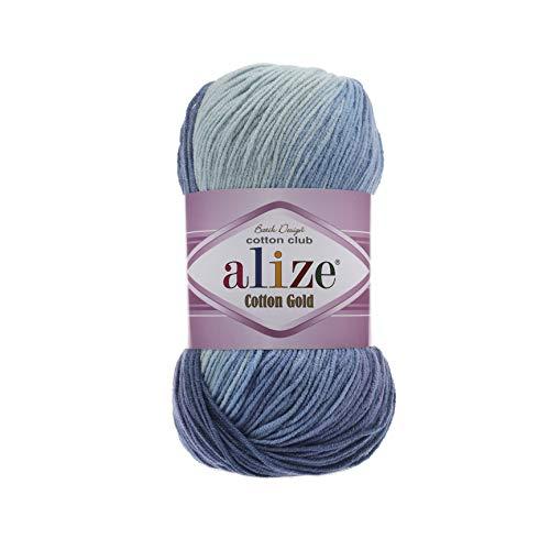 55% Cotton 45% Acrylic Yarn Alize Cotton Gold Batik Thread Crochet Hand Knitting Yarn Arts Crafts Lot of 4skn 400 gr 1444 yds Color Gradient 3299