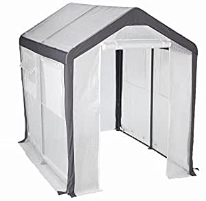 Greenhouse-Spring Gardener Peak Roof Walk In Portable Garden Hot House Fully Enclosed - Screend Windows for Ventilation, Zippered Door (6'W x 8'L x 7'H) Small Hobby Greenhouse for decks, patios, porches, backyards