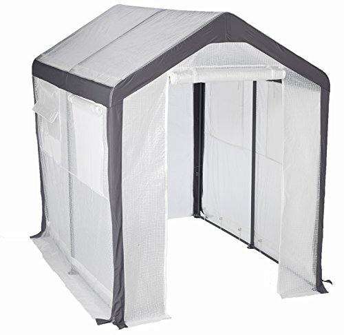 Greenhouse-Spring Gardener Peak Roof Walk In Portable Garden Hot House Fully Enclosed - Screend Windows for Ventilation, Zippered Door (6'W x 8'L x 7'H) Small Hobby Greenhouse for decks, patios, ()
