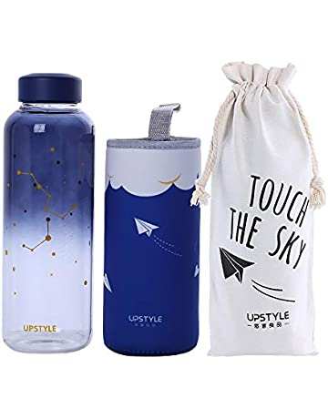 c6be8d494b UPSTYLE Eco Glass Water Bottle Cute BPA-Free Portable Sports Bottle Wide  Mouth Leak-. Upcoming Deal
