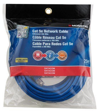 CABLE CAT-5E 25' BLUE by MONSTER JHIU MfrPartNo 140271-00