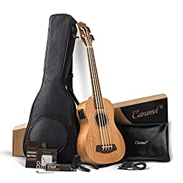 Caramel CUB402 Electric 30 inch All Solid Mahogany Ukulele Bass – Tuned as E-A-D-G