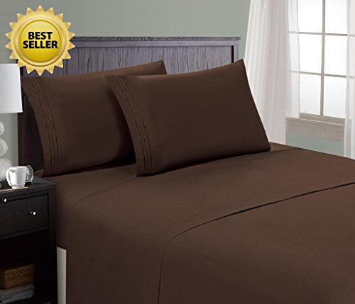 HC Collection Bed Sheet & Pillowcase Set HOTEL LUXURY 1800 Series Egyptian Quality Bedding Collection! Deep Pocket, Wrinkle & Fade Resistant,Luxurious,Comfortable,Extremely Durable(King, Brown)