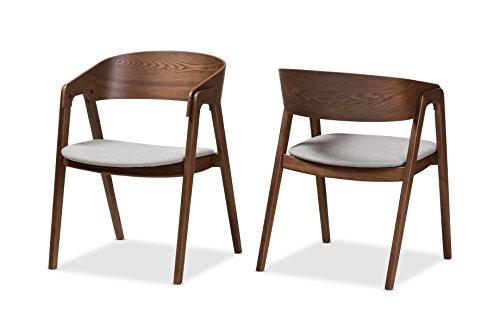Baxton Studio Channing Mid-Century Modern Walnut Wood Light Grey Fabric Dining Chair