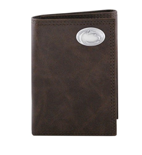NCAA Penn State Nittany Lions Zep-Pro Wrinkle Leather Trifold Concho Wallet (Brown)