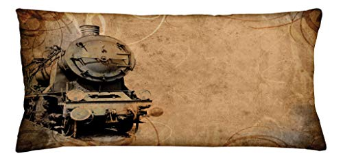 Ambesonne Steam Engine Throw Pillow Cushion Cover, Antique Old Iron Train Aged Sepia Grunge Style Design Industrial Theme Print, Decorative Rectangle Accent Pillow Case, 36