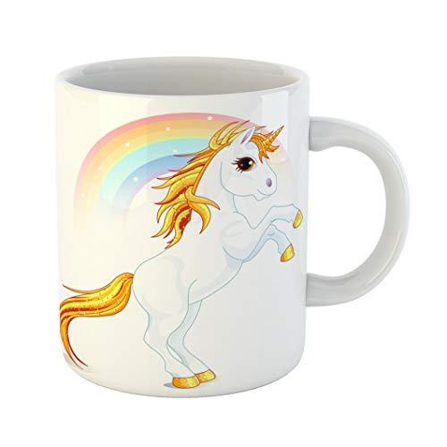Emvency 11 Ounces Coffee Mug Cartoon Rearing Up Unicorn in Rainbow Raster Clipart Fairy Magic Animal Artworks White Ceramic Glossy Tea Cup gift -