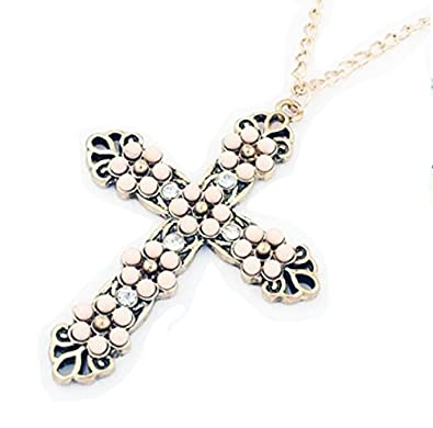 Trendy lions fashion flower pearl necklace cross pendant necklace trendy lions fashion flower pearl necklace cross pendant necklace for women aloadofball Images