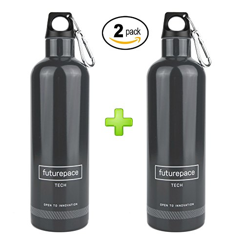 Futurepace Tech PACKS SPECIALS - DARK GREY - BEST STAINLESS STEEL INSULATED - 2 WATER BOTTLES GIFT SET PACK - 20oz BPA FREE by ON HAND for EASY GIFT GIVING! Perfect for Men, Women, Hiking Camping