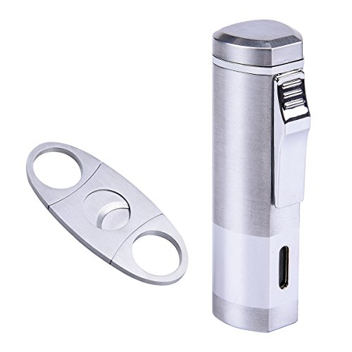 Cigarette Cigar Lighter Triple Jet Flame Butane Torch Combo Set with Cigar Punch Cutter Tool by SG