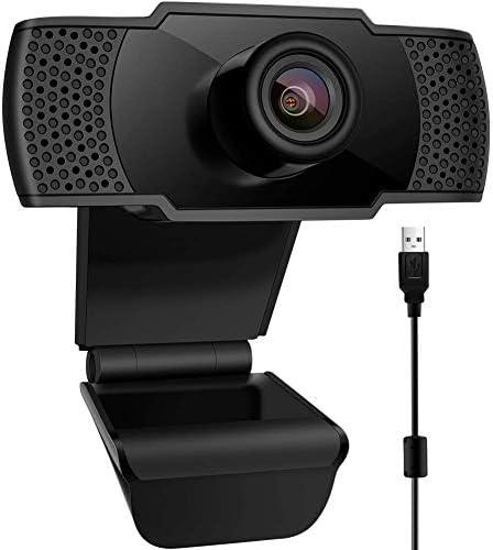Webcam con Microfono, USB 2.0 1080P FHD Web Webcam videocamera PC Desktop per videochiamate, Studio, conferenza, Registrazione, Gioco con Clip Girevole