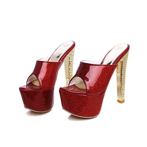 Festa Tallonati Ballo Donne Pompe Muli Open Alti Da Rongzhi Slittamento Su Brillare Rosso Piattaforma Sandali Scarpe Toe Tacchi 6w6qOY