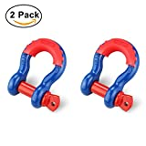 "Image of Shackles 3/4"" (2 PACK) RETECK D ring Shackle Rugged Unbreakable Maximum Breaking Strength 28.5 Ton (57,000 Lbs) with 7/8'' Pin Bow Screw Heavy Duty D Ring for Jeep Vehicle Recovery, Blue + Red Pin"