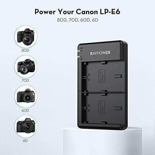 RAVPower Dual Slot Battery Charger for Canon LP-E6 LP-E6N Batteries, Compatible with Canon 5D Mark II III IV, 80D, 70D, 60D, 6D, EOS 5Ds, 5D2, 5D3, 5DSR, 5D4 Camera(Micro USB Port)