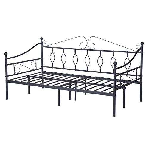 GreenForest Daybed Metal Bed Frame Twin Size Steel Slats Support Box Spring Replacement Mattress Foundation Strong Legs Headboard Daybed Frame, Black