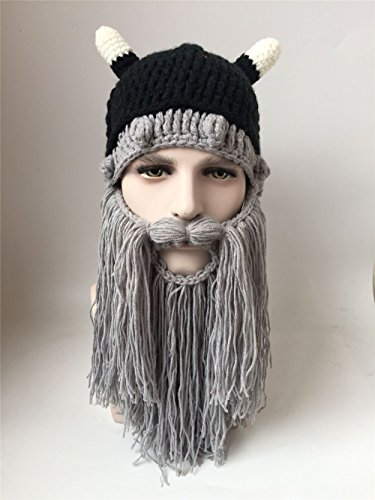 Halloween personality Viking hat; hand-woven beard; horns wool hat; Men's Head Foldaway Beard Hats Viking Horns Bearded Sports Novelty Knit Caps (Grey)