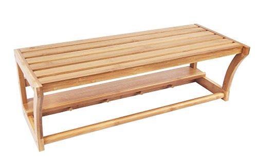 Bath Towel Rack Bar with Bamboo Shelf and Hooks for Bathroom Kitchen By BAMBUROBA