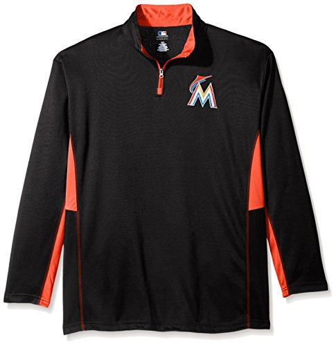 MLB Miami Marlins Men's Long Sleeved Quarter Zip Poly Jersey with Logo Embroided, 3X/Tall, Black