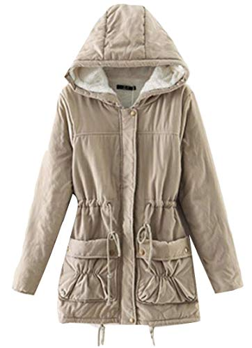 Fleece Slim TTYLLMAO Womens Winter Down Khaki Hoodie Fit Coat Long Long Sleeve YatxraZ