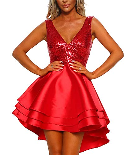 (Women Formal Party Dresses - Sleeveless Sequined V Neck Multi Layer Skater Evening Dress Red L)