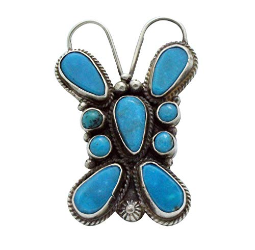 Tyler Brown, Ring, Kingman Turquoise, Butterfly, Silver, Navajo Made, 7.5