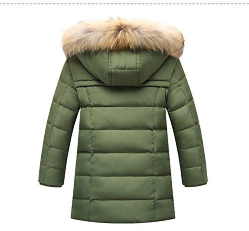 Menschwear Boy's Down Fur Hooded Jacket Winter Warm Outwear Winter Coat (150,Green) by Menschwear (Image #2)
