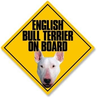 5x5 Car Window Dog Sign English Bull Terrier on Board