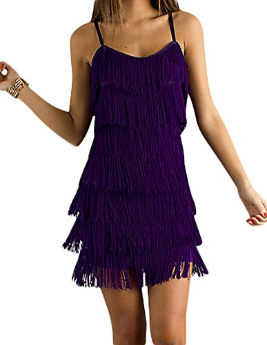 Cheryl Creations Women's Short All-Over Fringe Flapper Sleeveless Comfortable Day/Night Mini Dress with Adjustable Bra Straps]()