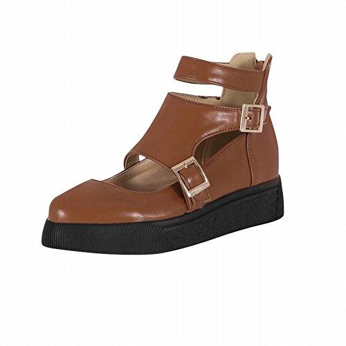 Carolbar Kvinna Sommarbruk Mode Multi Spänne Komfort Tillfällig Blixtlås Borrat Låg Klack Sandaler Skor Brun