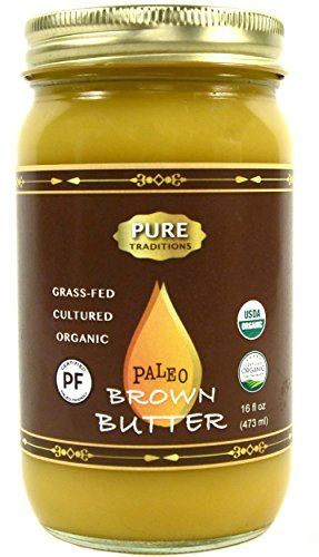 Organic Paleo Cultured Brown Butter Ghee, Grass Fed, Casein and Lactose Free (16 oz)