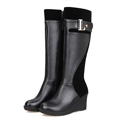 AgooLar Women's Zipper Kitten-Heels Blend Materials Solid High-Top Boots Black 90ljl1eF