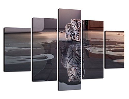 5 Panel Canvas Cat Artwork Tiger Painting Multi piece Wall Art,Cute Animal HD Prints Pictures Inspiration Giclee for Living Room Home Decor Wooden Framed Stretched Ready to Hang(60''Wx40''H)