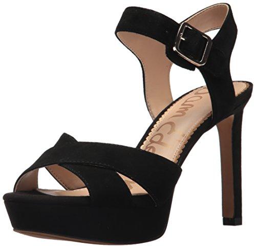 Sam Edelman Women's Jordan Heeled Sandal, Black Suede, 8.5 Medium US (Dress Platform)