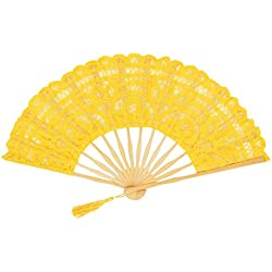 Fennco Styles Handmade Crochet Cotton Lace with Tassels Wedding Bridal Decoration Hand Folding Fan (Yellow)