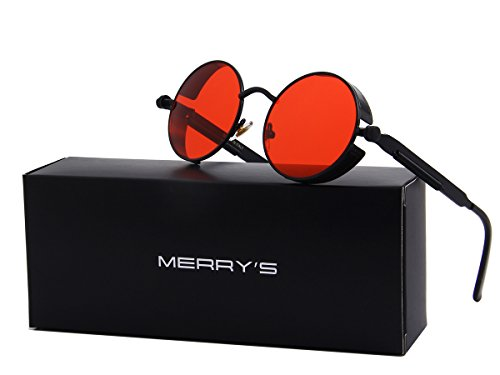 MERRY'S Gothic Steampunk Sunglasses for Women Men Round Lens Metal Frame S567(Black&Red, - Round Sunglasses Lense