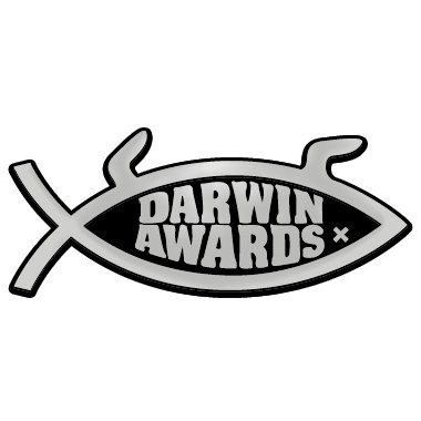 5 x 2 Darwin Awards Fish Chrome Auto Emblem