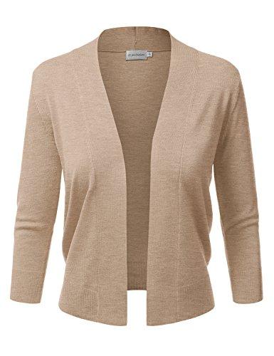 (JJ Perfection Women's Basic 3/4 Sleeve Open Front Cropped Cardigan Khaki)