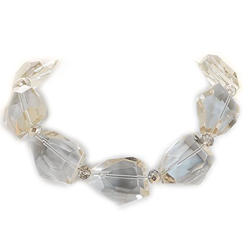 Large Smoky Crystal Huge Necklace W/ silver Tone Toggle 18.5'' N15083111j by Ny6design