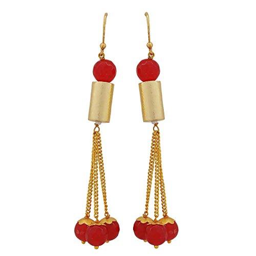 Maayra Cocktail Hanging Earrings Maroon Dangler Drop Party Jewellery by Maayra