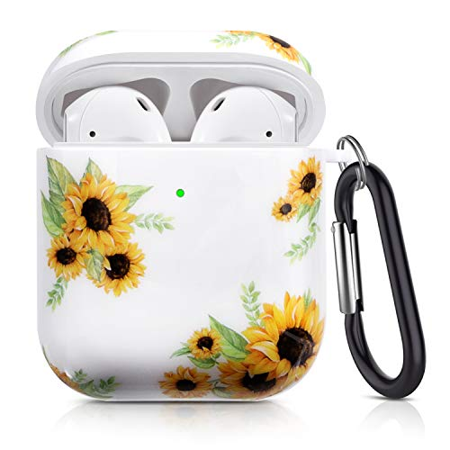 Cutebricase AirPods Case Silicone Protective Cover for Apple AirPods 2 & 1 Compatible with Wireless Charging(Sunflower)