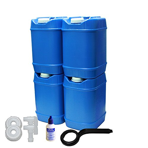 5-Gallon Stackable Water Container kit (20 Total Gallons), 4 Pack, Blue, BPA Free, High Density Polyetholene (HDPE) with Built In Handle with Water Preserver plus 2 Additional Lids & 2 Total Spigots (Best Long Term Water Storage)