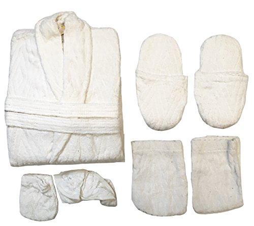 accappatoio Set donna 100 6 uomo cotone spugna Bianco P01 completo pz rtqxBr