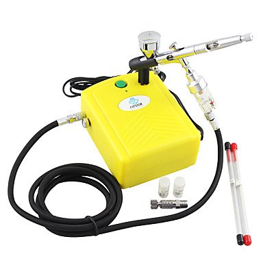 WST Yellow 100V-240V Airbrush Compressor Kit 3 Tips Dual-Action Airbrush for Nail Art Temporary Tattoo Makeup