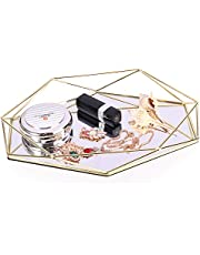 Decorative Prisma Tray Mirrored Metal Ornate Vanity Table Storage Organizer Jewelry Cosmetic Makeup Perfume Trinket Organizer Desktop Decor Tray Girls Women Gift