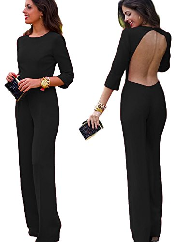 Aro Lora Women's Sexy Backlesss Clubwear 1/2 Sleeve Long Jumpsuit Bodysuit Rompers Medium Black